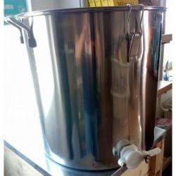 100kg-os inox letöltő műanyag csappal